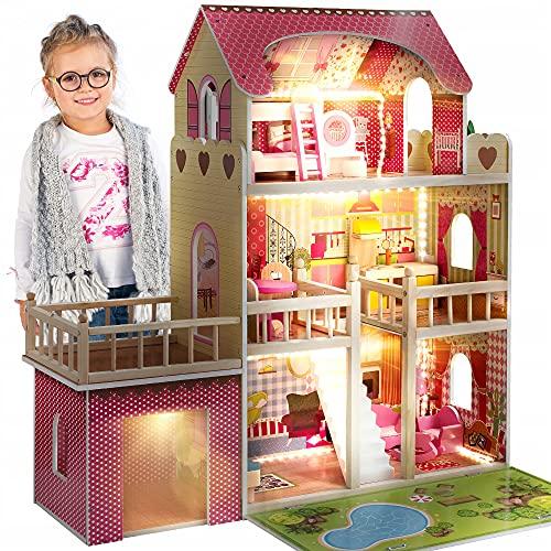 Kinderplay Puppenhaus Holz Gross, Puppenvilla, Puppenhaus Holz Groß komplett - Barbie Traumvilla, Barbie Puppenhaus, Led - Licht und Zubehör, Set 90 cm Hoch mit Terrasse, Garage, GS0020