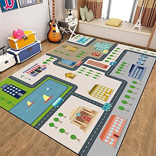 WFF56 Straßenspielteppich Stadtverkehr Teppich Schlafzimmer Dekoration Kinderspielzimmer Spielteppich Lernspaß Kinder Bildung Verkehrssicherheit(Color:Z02,Size:160 * 230CM)