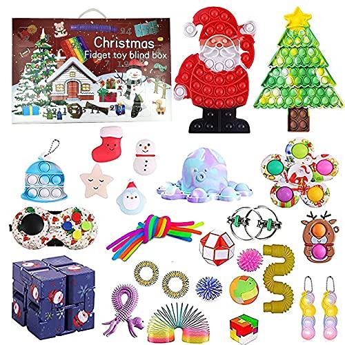 Adventskalender 2021 Sensorisches Fidget-Spielzeug-Set, Fidget Spielzeug-Set,Squeezing Anti-Stress-Toys Dekompression-Spielzeug für Kinder und Erwachsene Party-Favoriten
