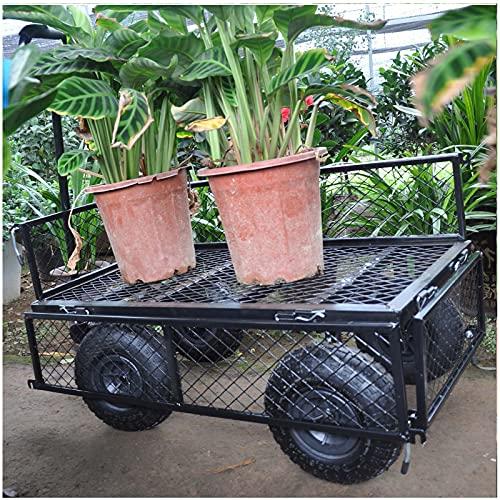 Bollerwagen Luftreifen Black Heavy Duty Garden Trolley Garden Camping Cart Heavy Duty Portable Hand Transport Trailer Geeignet für Garten und Outdoor