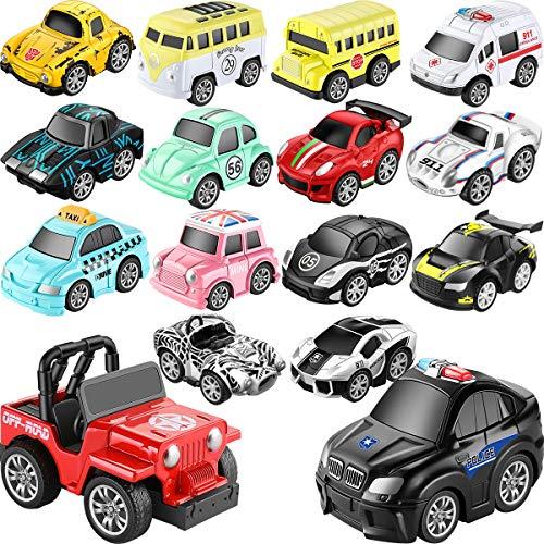 16er Set Aufziehautos Spielzeugauto Aufzieh LKW und Auto Spielzeug Druckgussautors für Jungen Mädchen Kinder Spielsachen Geschenk ab 1 2 3 Jahre Spielset