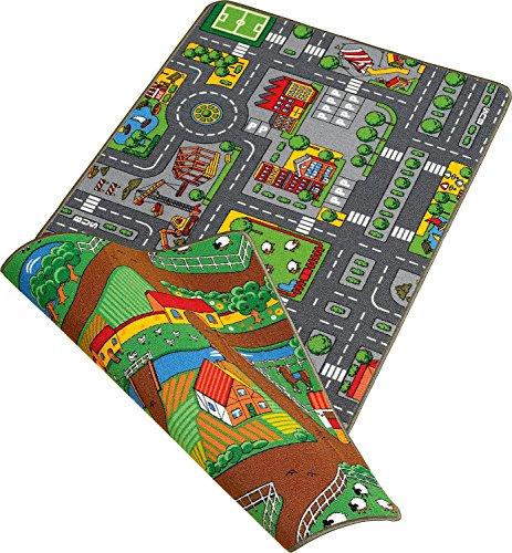 Duoplay 100x190 A4 Wende-Spielteppich, City oder Farm
