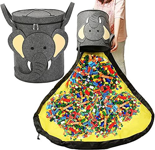 Lazeny Kinder Aufräumsack Spieldecke Spielzeug Aufbewahrungskorb mit Deckel Tragegriff Faltbare Aufbewahrungsbeutel Baby Spielzeug Aufbewahrung für Kinderzimmer Outdoor Picknick (Grau Elefant)