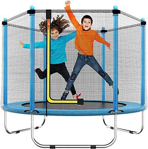 60'Trampolin für Kinder - 5 Ft/150cm Indoor or Outdoor Mini Toddler Trampolin mit Sicherheitsausrüstung, Geschenke für Junge und Mädchen, Baby Toddler Trampolin Spielzeug, Alter 1-8