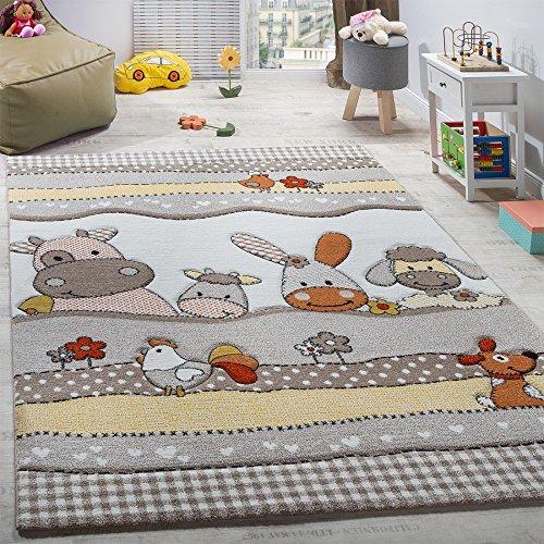 Paco Home Kinderteppich Kinderzimmer Lustige Bauernhof Tiere Konturenschnitt Beige Grau, Grösse:80x150 cm