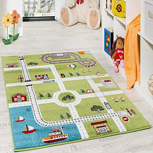 Paco Home Kinderteppich Spielteppich City Hafen Straßenteppich Stadt Straße Grau Grün, Grösse:230x320 cm