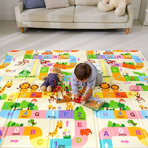 Baby Spielmatte, Bammax Babymatte, Baby Krabbelmatte, faltbare baby bodenmatte, umweltfreudlich, XPE Material, Doppelseiten spielbar, wasserdicht, ungiftig, BPA Frei, Labyrinth, 197 x 177 x 1,5 cm