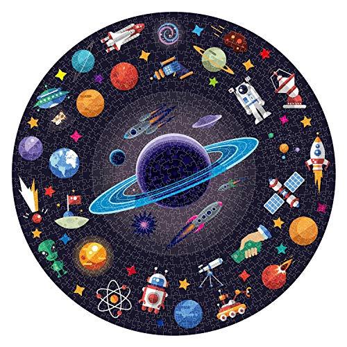 YUWEX Puzzle 1000 Teile Universum Runde Puzzle Holzpuzzle Buntes Cartoon Tier Puzzle Stressabbau Spielzeug für Erwachsene 0.25cm